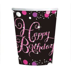 8 Becher Happy Birthday schwarz pink funkelnd 266ml party deko pappe pappbecher 266ml amscan 0013051637378