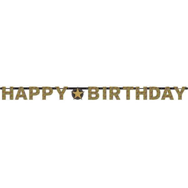 Buchstabenkette Happy Birthday schwarz gold silber funkelnd Geburtstagsdeko Geburtstagsgirlande Party Deko Geburtstag Amscan 0013051665692