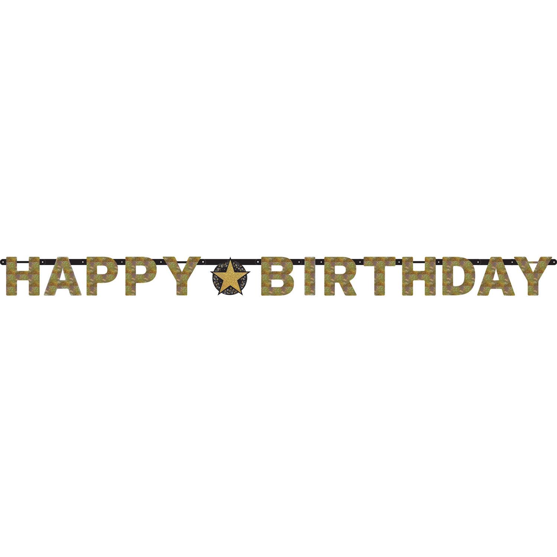 Buchstabenkette Happy Birthday Schwarz Gold Funkelnd Geburtstagsdeko