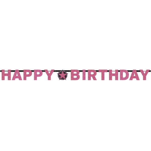 Buchstabenkette Happy Birthday schwarz pink funkelnd Geburtstagsdeko party deko geburtstagsdeko geburtstag amscan 0013051665753