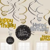 Hängedeko Spiralen Happy Birthday schwarz gold silber funkelnd 12-teilig Party Metallicfolie Pappe Amscan 0013051665661