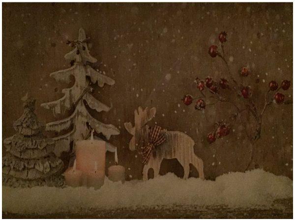 LED Bild Weihnachten Elch Kerze mit 4 flackernden LED´s Winterwandbild