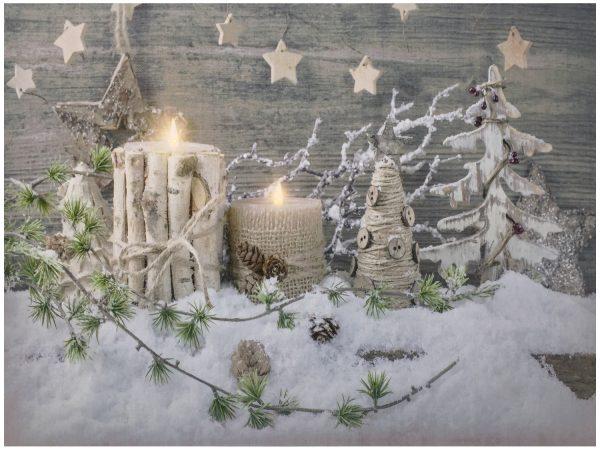 LED Bild Weihnachten Winterwelt mit 2 flackernden LED´s