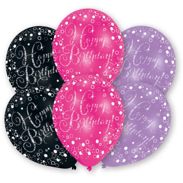 6 Luftballons Happy Birthday schwarz pink funkelnd Latexballons geburtstagsballons party deko geburtstagsdeko geburtstag amscan 0013051654610