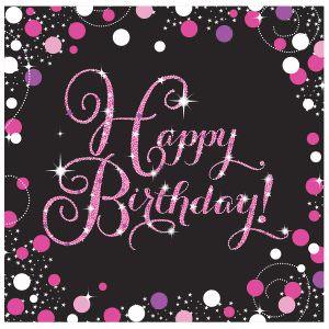 16 Servietten Happy Birthday schwarz pink funkelnd Geburtstagsservietten party deko geburtstagsdeko geburtstag amscan 0013051665722