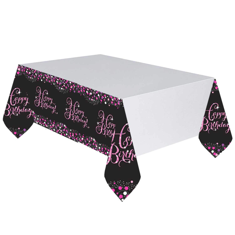 tischdecke happy birthday schwarz pink funkelnd deko 240cm. Black Bedroom Furniture Sets. Home Design Ideas