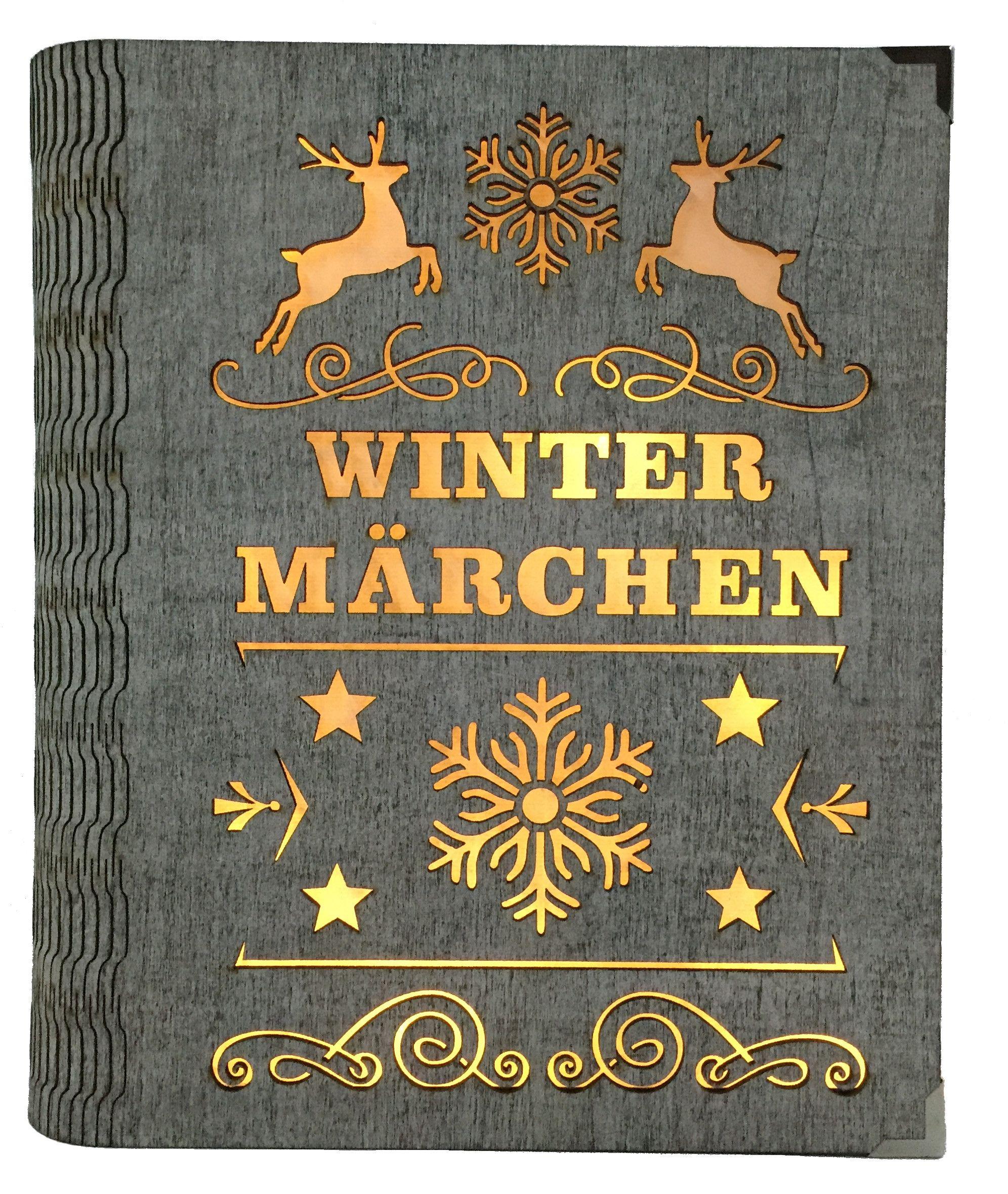 Weihnachtsdeko Seiffen.Dekobuch Wintermärchen Grau Beleuchtet Weihnachtsdeko Holz