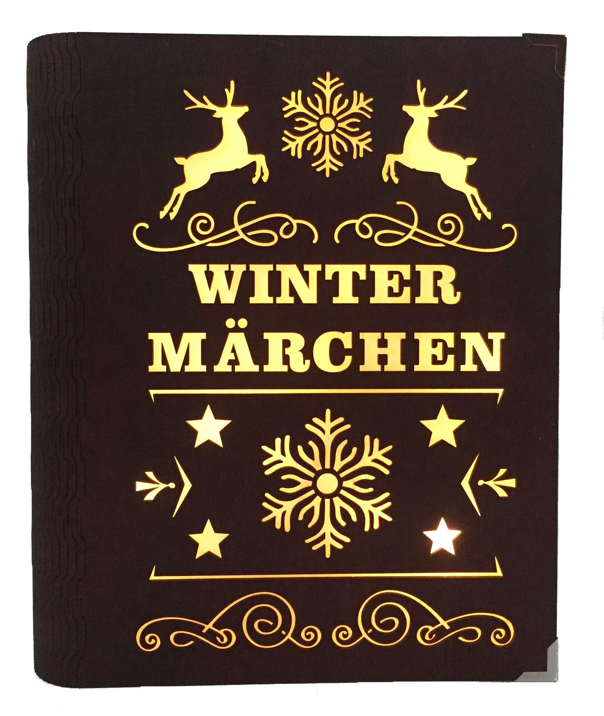Weihnachtsdeko Beleuchtet.Dekobuch Wintermärchen Rot Beleuchtet Weihnachtsdeko Holz