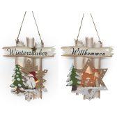 Fensterbild beleuchtet Winterzauber / Willkommen 3D Wandbild Winter Weihnachtsdeko Holz Türdeko