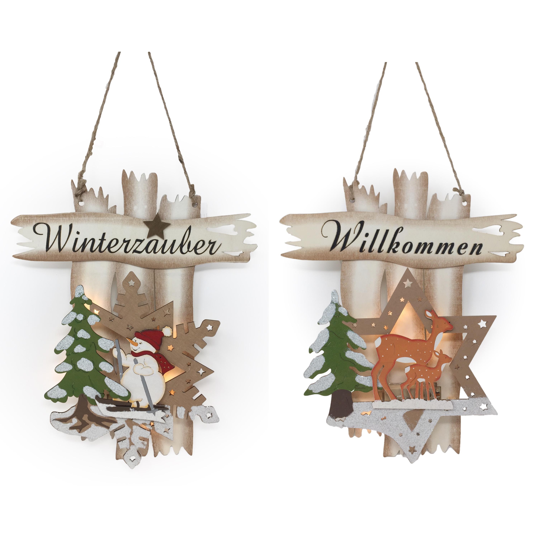 Fensterbild beleuchtet winterzauber willkommen 3d wandbild for Beleuchtete gartenfiguren