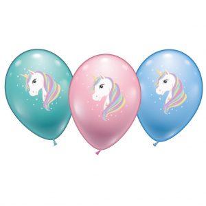 Einhorn Luftballon 6er Set Ø 28-30 cm Kinder Geburtstag Helium geeignet Pastell