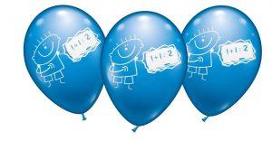 Schuljunge Schuleinführung Luftballon 6er Set mit 28-30 cm Ballondurchmesser in kräftigem Blau zur Schuleinführung, auch für Helium geeignet.
