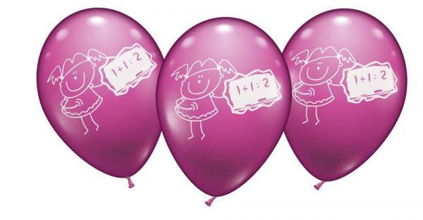 Schulmädchen Schuleinführung Luftballon 6er Set mit 28-30 cm Ballondurchmesser in kräftigem Pink zur Schuleinführung, auch für Helium geeignet.