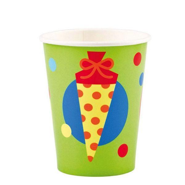 8 Becher ABC Schulanfang Schuleinführung 250ml Party Deko Geschirr. Pappbecher mit verschiedenfarbigen Zuckertüten und Punkten als Motiv.