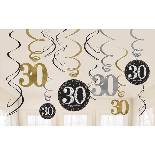 Hängedeko Spiralen 30. Geburtstag schwarz gold silber funkelnd 12-teilig. Die hängenden Spiralen habe eine Länge von 45 cm bis 60 cm.