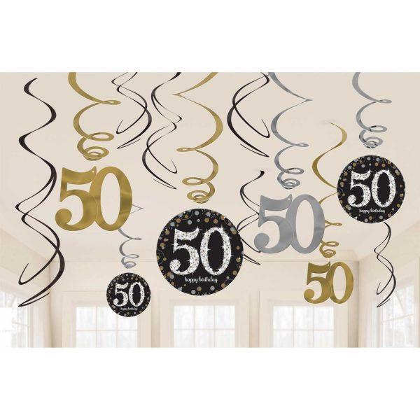 Hängedeko Spiralen 50. Geburtstag schwarz gold silber funkelnd 12-teilig. Die hängenden Spiralen habe eine Länge von 45 cm bis 60 cm.