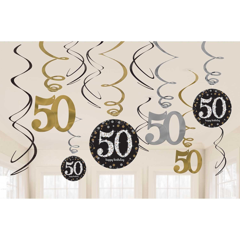 Hangedeko Spiralen 50 Geburtstag Schwarz Gold Silber Funkelnd 12 Teilig