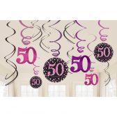Hängedeko Spiralen 50. Geburtstag schwarz pink funkelnd 12-teilig.Die hängenden Spiralen habe eine Länge von 45 cm bis 60 cm.