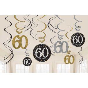 Hängedeko Spiralen 60. Geburtstag schwarz gold silber funkelnd 12-teilig. Die hängenden Spiralen habe eine Länge von 45 cm bis 60 cm.