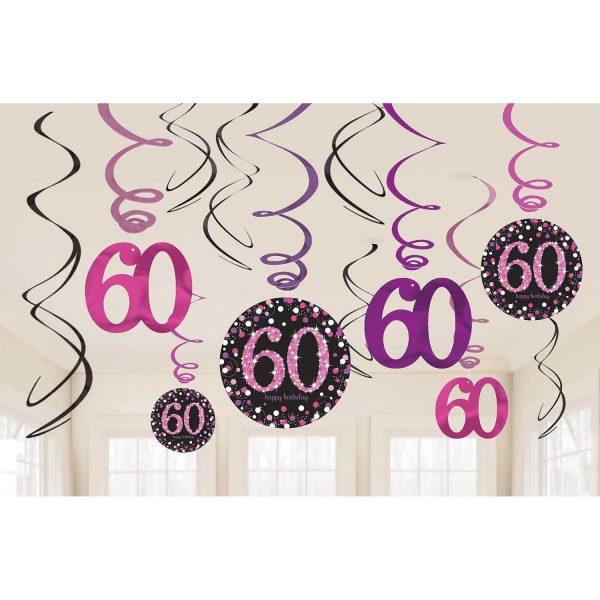 Hängedeko Spiralen 60. Geburtstag schwarz pink funkelnd 12-teilig.Die hängenden Spiralen habe eine Länge von 45 cm bis 60 cm.