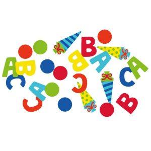 Konfetti Buchstaben Schulanfang ABC Zuckertüten Schuleinführung bunt 14g, Material: Pappe , Metallicfolie Farbe: gelb, grün, orange, blau, rot