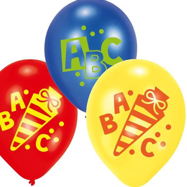 ABC Schulanfang Schuleinführung Luftballon 6er Set mit ABC, Zuckertüte und Punkten in den Farben rot, gelb und blau. Riethmüller 0013051578169