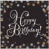 16 Servietten Happy Birthday schwarz gold silber funkelnd. Die Geburtstagsservietten sind schwarz mit kleinen Punkte und Sternen in gold und silber.