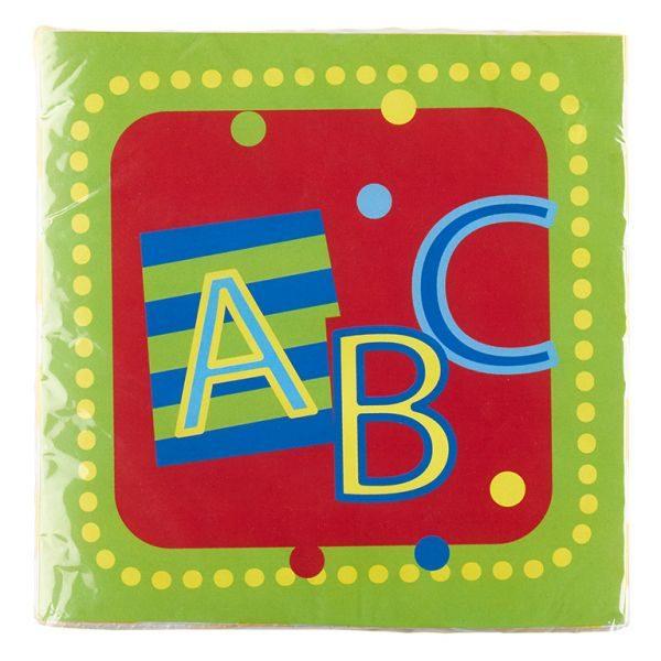 Servietten Schulanfang ABC Tischdeko Schuleinführung. Das Motiv ist Mehrfarbig mit Schriftzug ABC, von rotem Quadrat und vielen gelben Punkten umrahmt.