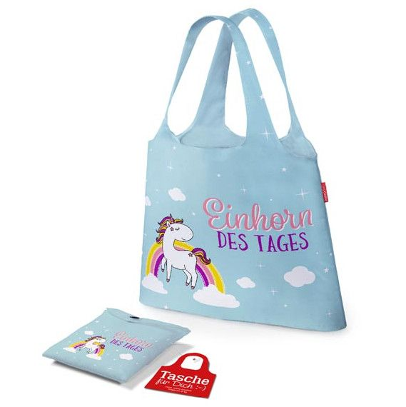 Tasche Einhorn des Tages ist ideal für Einkäufe / Shoppingtour. Zusammengefaltet schnell verstaut & beim Shopping ein echter Hingucker | LaVida