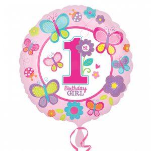 Folienballon 1. Geburtstag Schmetterlinge Sweet Birthday Girl. Luftballon ca. 45cm mit selbstschließenden Ventil. Für Luft & Helium Ballonweitflugkarten