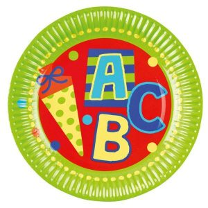 8 Teller Schulanfang ABC Schuleinführung 23cm grün. Motiv Mehrfarbig mit Zuckertüte & Schriftzug ABC sowie bunte Punkte auf roten / grünen Untergrund.