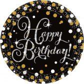 8 Teller Happy Birthday schwarz gold silber funkelnd - Einwegteller / Pappteller