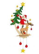 3D Holz Bastelset Fensterbild Weihnachtsmann mit Elch | Kinder Kreativität mit Basteln fördern. Bastelset kann farbig bemalt & mit Holzleim geklebt werden.