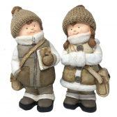 Deko Figuren Winterkinder mit Tasche und Buch, Deko Kinder weiss braun