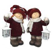Deko Kinder Winterkinder mit Laterne rot, Deko Kinder / Gartenfiguren als Junge & Mädchen mit Laterne & roter Strickmütze mit Augenapplikationen