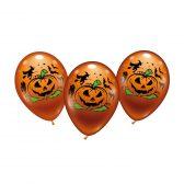 Halloween Deko Luftballon 6er Set Helium geeignet - perfekt für die nächste Halloweenparty. Jeder Ballon mit Grusel-Kürbis & typischen Halloweenmotiven.