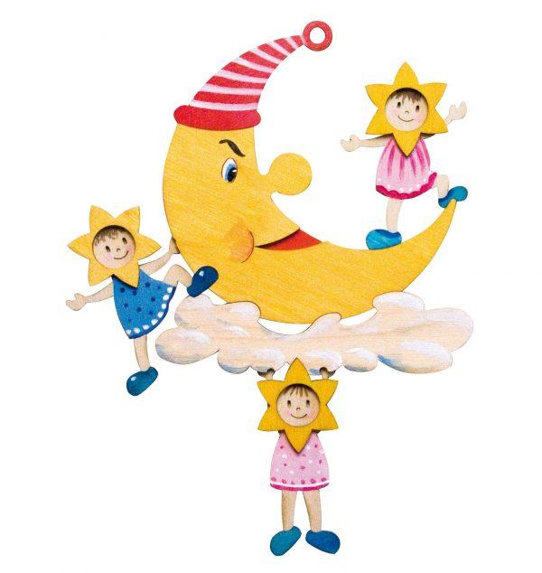 Kinder basteln Bastelset Fensterbild Mond aus Holz | Kreativität von Kindern mit Basteln fördern. Bastelset kann farbig bemalt & mit Holzleim geklebt werden