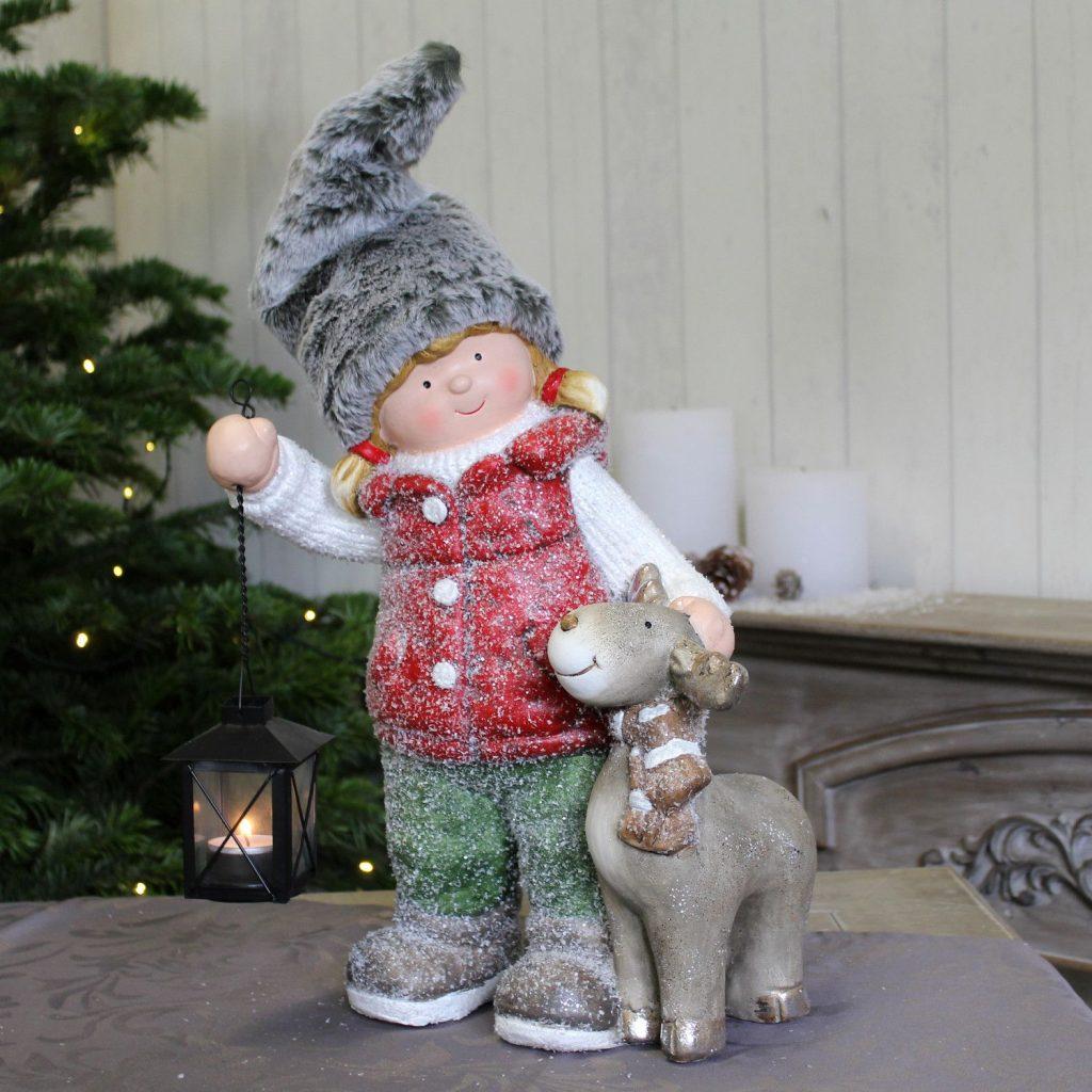 Dekofigur Elch Weihnachtsdeko Weihnachten Weihnachtsfigur Dekoration Laterne NEU